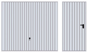 Подъемно-поворотные автоматические ворота гаражные и боковая дверь, вертикальный гофр