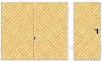 Подъемно-поворотные автоматические ворота гаражные и боковая дверь исполнение диагональные полосы.