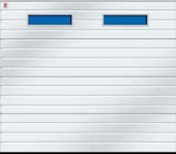 Секционные гаражные ворота Teckentrup GSW 20 прямоугольное остекление тип С. Исполнение гофр.