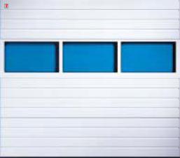 Секционные гаражные ворота Teckentrup GSW 20 прямоугольное алюминиевое остекление. Исполнение гофр