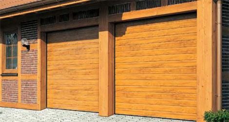 Секционные гаражные ворота Teckentrup GSW 40 горизонтальный гофр под дерево